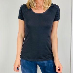 Lululemon black striped scoop neck tee shirt